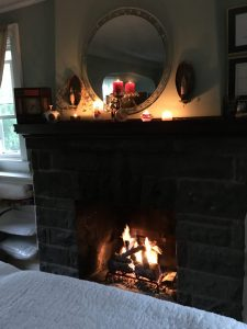 The fireplace is lit in the winter for your comfort if you wish.